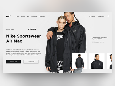 Nike - Store Home Page Concept minimal webdesign ecommerce store branding shop cart nike daily landing e-commerce website homepage uiux