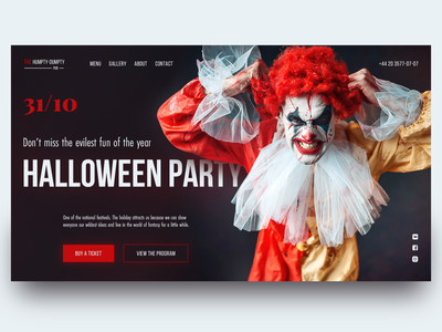 Halloween Party Page Concept branding dribbble weekly warm-up interface pub ui  ux landing concept website homepage holiday halloween uiux design promo club