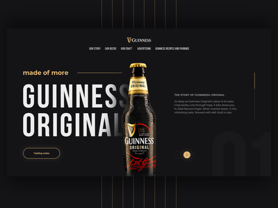 Guinness Beer Redesign Concept redesign shot behance minimal illustration uiux home page webdesign homepage design website beer guinness