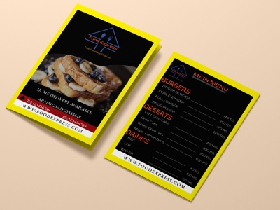 Food express Menu Card clean leaflet brochure 3d mockup designs flyer creativity design logo brand identity adobe photoshop adobe illustrator illustration branding