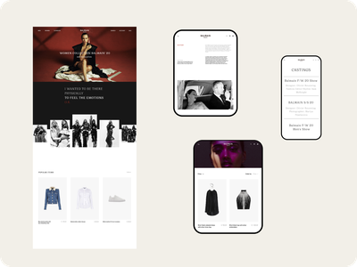 BALMAIN-Online store clothing store fashion concept clean ux ui design website web webdesign