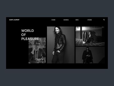 Saint Laurent minimal web fashion brand ux yves saint laurent saint laurent ui fashion dark clean design design web design