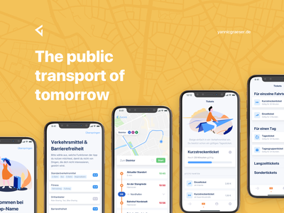 Bachelor Thesis: The public transport of tomorrow wireframes principle sketch product mobile design app workshop interviews transportation map illustration onboarding german ux ui public transport public transit