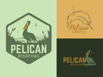 Pelican Roofing typography digital illustration vector logo branding procreate design hand lettering