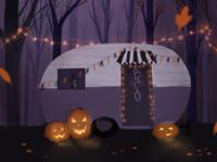 Creepy Camper fall forest jack o lantern pumpkin ghost camper digital illustration camping spooky halloween illustration hand lettering procreate