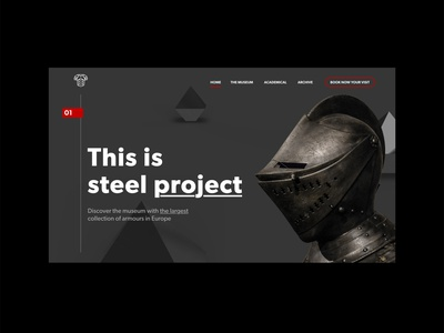 Steel project :: Landing Page 3d adobe dimension steel museum armour typography ui ux