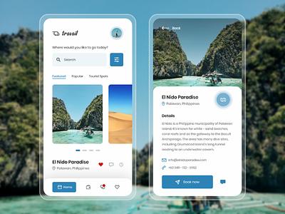 Travail :: Travel Mobile App mobile application blue travel concept travel app ui design mobile ui