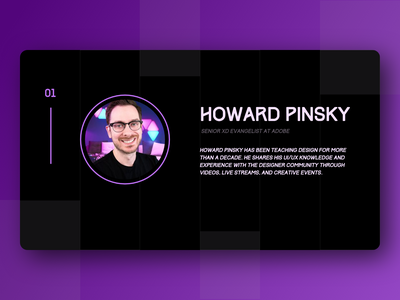 Homage - Howard Pinsky dark theme ui purple adobe xd concept design dark ui