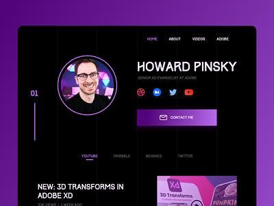 Homepage ft. Howard Pinsky homepage design website design design concept dark theme ui concept design dark adobe xd