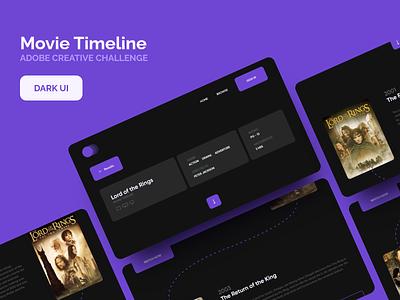 Movie Timeline dark theme ui concept design adobe xd creative challenge webdesign dark ui
