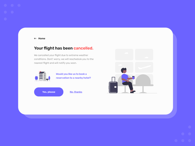 UX Writing - Day 1 ux writing challenge daily ux writing cancellation flight booking error message illustration adobe xd ux design blue ux
