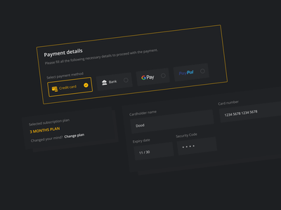 UI Components subscribe cart subscription checkout dark theme ui pricing ui