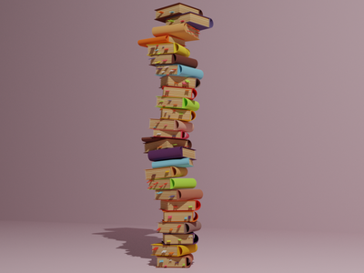 Books  📚 books book blender lowpoly 3d art 3d modeling