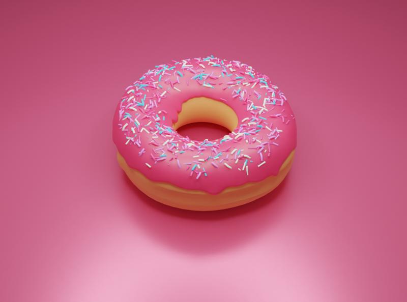 Yummy donut donuts fun firstshot doughnut sweets blender3dart blender3d warmup food design blender 3d donut illustration 3d art