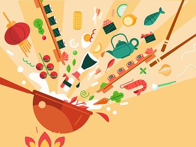 All in one wok fire cooking food app asian food food flat illustration flat vector illustration infographic animation illustration prostora