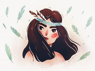 Pocahontas cute leaf dribbble prostora pocahontas girl