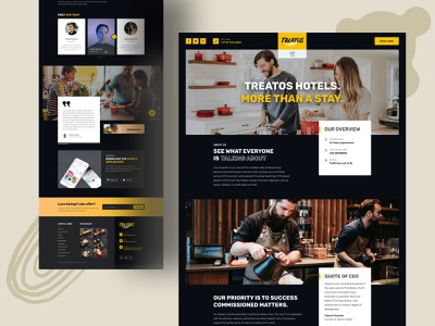 """About Us """"Treatos"""" restaurant app website design food delivery app food delivery service about me about us page about page about us restaurant website restaurant branding restaurant food delivery"""