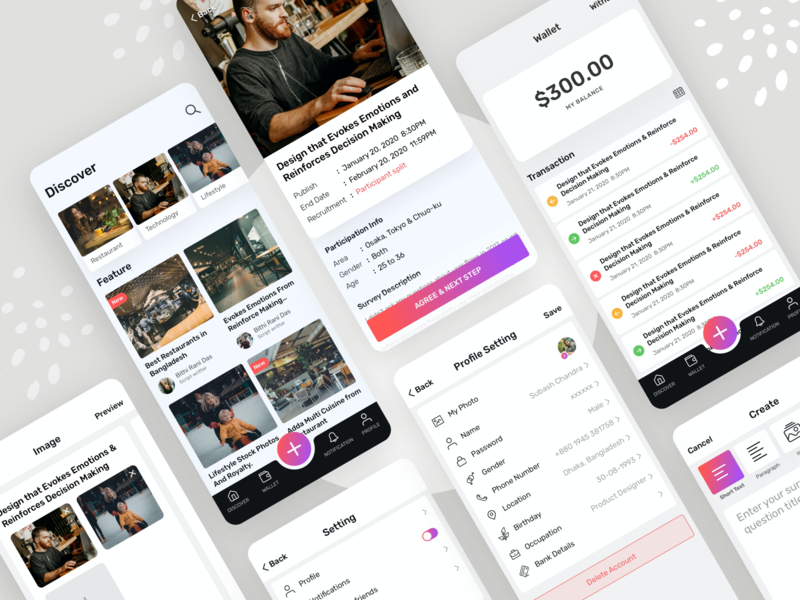 Survey App mobile app design android app design ios app design post app wallet management wallet blog post article app research app surveyor survey