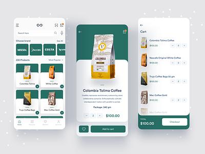 eCommerce App for Coffee Shop app designers store ui shop order mobile app food menu food drink cafe buy apps ux sketch app mobile shop ios interface coffee app