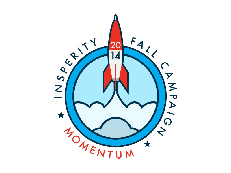 Momentum rocket outer space blast off rocket launch red white and blue space space ship logo branding