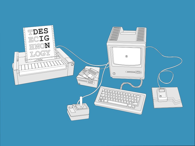 Technology + Design technology macintosh design apple mac vintage computer joystick printer illustration line art floppy disk