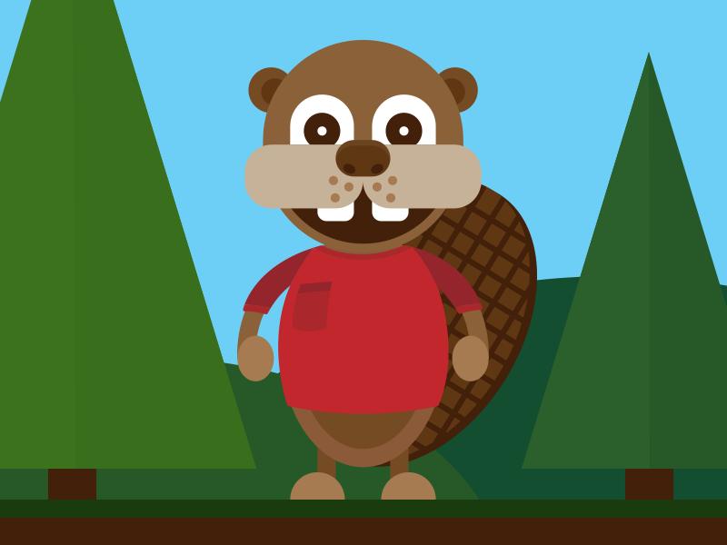Beaver Mascot hills trees forest illustration beaver