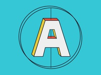 Axis brand letter a form shape symmetry alignment axis
