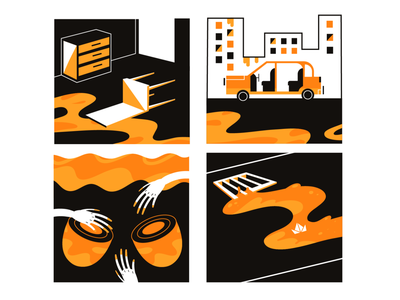 New World orange comic story vector illustration vectorart adobe illustrator