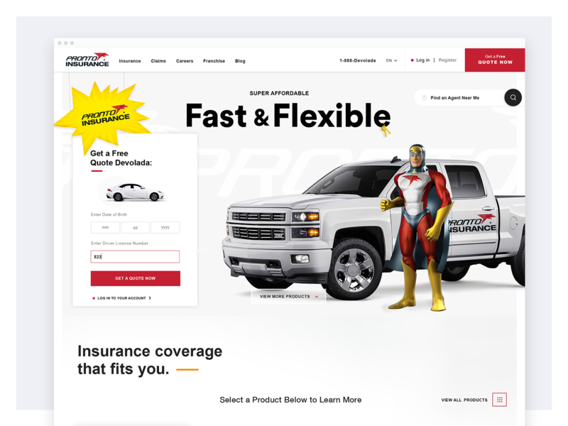 Pronto Car Insurance Website Redesign - Home Page