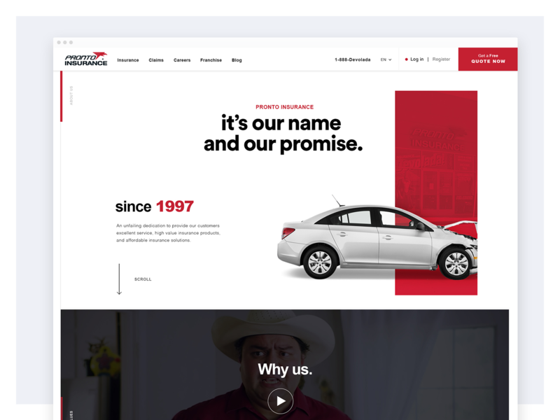 Pronto Insurance Website Redesign - About Page