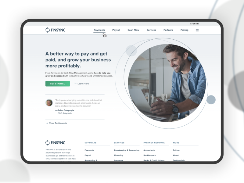 FINSYNC 2020 Home V2 Desktop design open layout circle white background clean responsive ui ux landing page homepage desktop