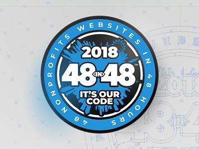 2018 48in48 Pins (Fourth Edition – International) volunteers charities nonprofits cities skyline illustration buildings badge enamel pin