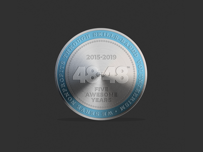 2019 48in48 Coin Five Years token brand aluminum silver charity nonprofit illustration design vector typography 48in48 logo doubloon coin