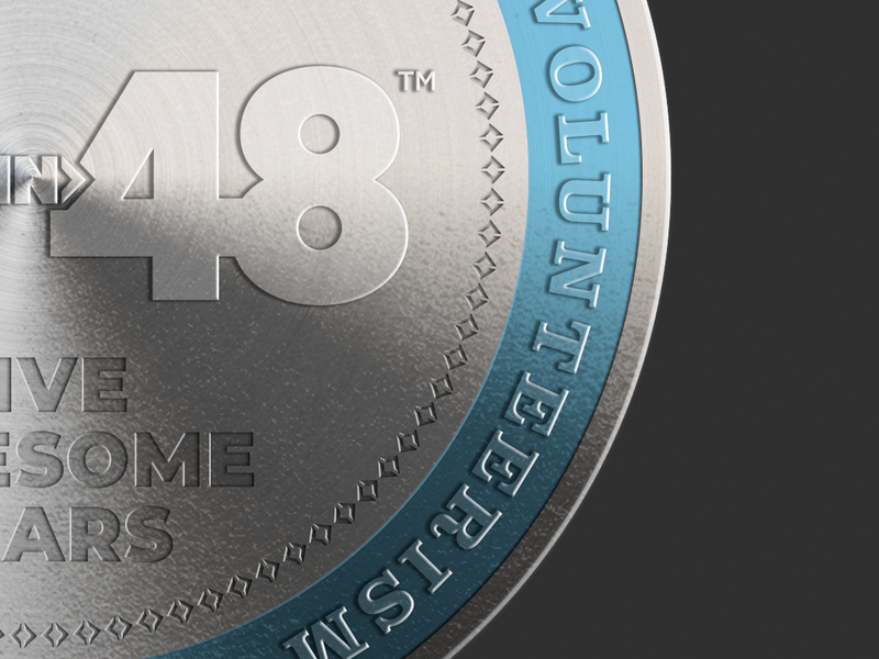 2019 48in48 Coin Five Years (Close Up) vector typography token silver nonprofit logo illustration doubloon design coin charity brand aluminum 48in48