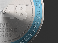 2019 48in48 Coin Five Years (Close Up)