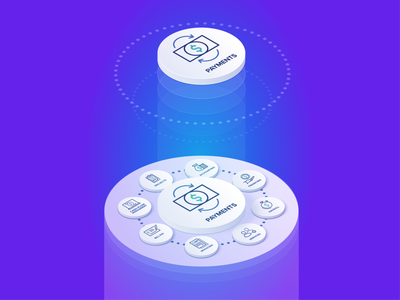 Illustration Isometric - Payments Platform isometry finsync isometric design connected dots illustration print design vector isometric art forced perspective platform payments isometric illustration isometric axonometric