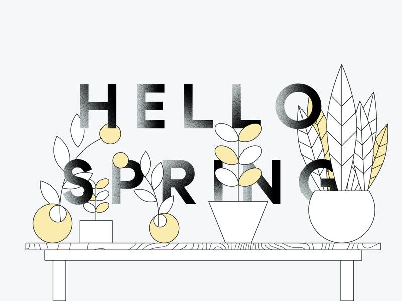 Spring Market Explorations real estate illustration plants spring texture typography grain