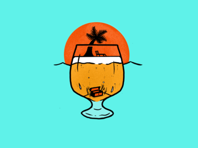 IPA Daydream digital illustration procreate app treasure procreate ocean summer palm tree beer illustration
