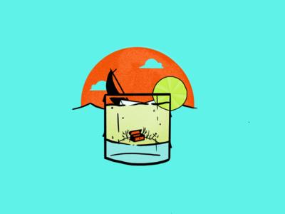 Tequila & Citrus Daydream horizon sun lime sailing sail treasure glass cocktail drink cup illustration procreate sail boat sailing ship
