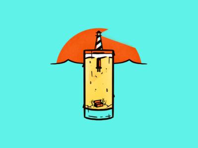 Lighthouse Sunrise glass cup beer procreate treasure chest treasure lighthouse illustration