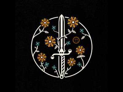 Flower Dagger Badge plant knife digital illustration procreate floral flower dagger illustration