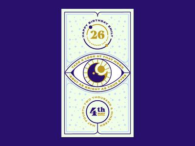Emily's Birthday Card stars card sun moon eye birthday card