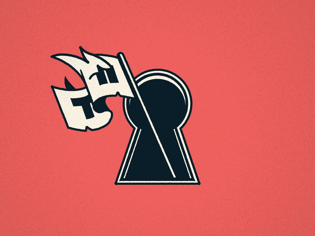 Twiin Flag vector flag logo fire flag keyhole
