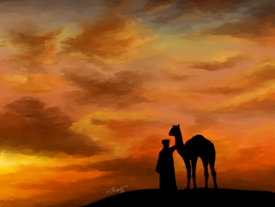 A Sunset in desert graphic digital illustration design creative art instagram dribbble illustration drawing photoshop digitalart
