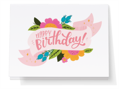 Happy Birthday Banner With Flowers Greeting Card