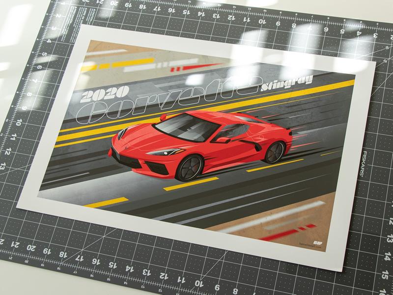 2020 Corvette Stingray Print benwhitesell poster adobe illustrator photoshop illustration design automative car stingray 2020 c8 chevrolet corvette