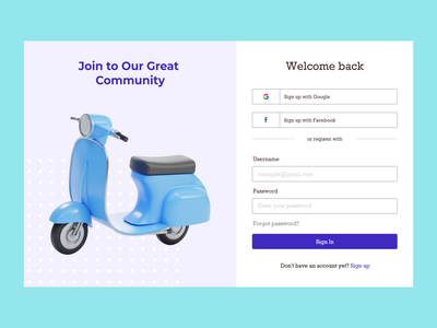 Travelling Community : Login & Sign Up travel app travelling scooter travel sign up screen sign up page sign up form sign up ui sign up login design login screen login form login page login wireframe website web design uiux ui design interface