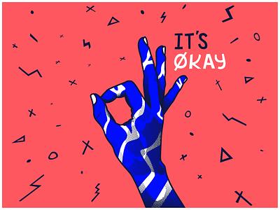 it's okay kool aid kid its okay mate colour bold vector lines illustration hand