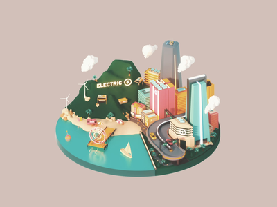 West Coast t brand studio. 3d modeling editorial art colour west coast electric car miniature city 3d animation 3d art illustration