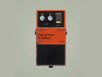 Distortion & Delay effects guitar pedal distortion delay music octane c4d substance painter 3d
